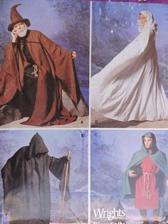 Cape Tunic Hat Unisex Costume Outfit Men's Misses' Halloween Costume Patterns, Halloween Costumes, Star Patterns, Cool Patterns, Renaissance Dresses, Pattern Fashion, Girl Dolls, Cape, Cool Outfits