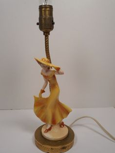 VINTAGE 1930's ART DECO FIGURAL CERAMIC TABLE LAMP of VOGUE LADY IN YELLOW DRESS