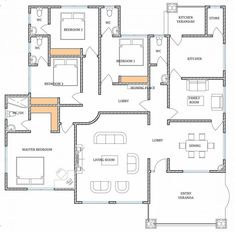 Porch House Plans, 4 Bedroom House Plans, New House Plans, Dream House Plans, Small House Plans, Modern Wooden Furniture, Bungalow Floor Plans, Modern Small House Design, House Construction Plan