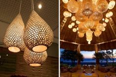 Decorar con lámparas de mimbre y bambú Bamboo Light, Bamboo Lamp, Backyard Lighting, Outdoor Lighting, Corner House, Beach Bars, London Restaurants, Handicraft, Desk Lamp