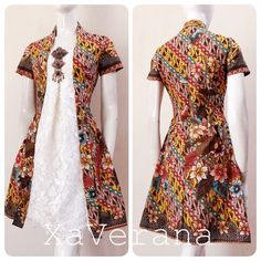 Kebaya kutubaru dress Instagram @xaverana Kebaya Dress, Batik Kebaya, Batik Dress, Batik Fashion, Ethnic Fashion, African Fashion, Mode Mori, Mode Batik, Batik Couple