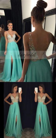 Sexy V-Neck Chiffon Prom Dress, A-Line V-Back Beaded Prom Dress, D159