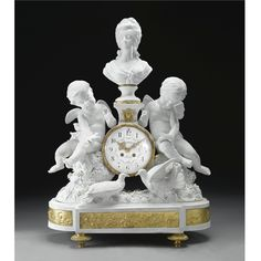 A LARGE LOUIS XVI STYLE GILT-BRONZE MOUNTED BISCUIT PORCELAIN MANTLE CLOCK<br>PARIS, CIRCA 1890 | lot | Sotheby's