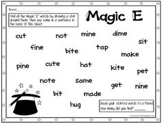 """Free """"Magic E"""" word search. Tons of other free activities and printables on this site also."""