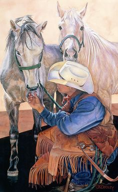 Cowboy Where's Mine? Painting by JK Dooley
