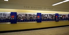Baltimore Polytechnic Institute had a wealth of information and pictures to include in its new school timeline installed this afternoon. The 40 foot wall includes more than 100 years of history!  Read more about the project here: http://adlerdisplaystudios.blogspot.com/2014/09/timeline-displays-reveal-great-moments.html