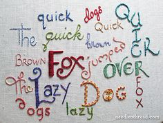 Hand Embroidery Lettering and Text Tutorials on www.needlenthread.com   http://www.needlenthread.com/2009/10/hand-embroidery-lettering-and-text.html