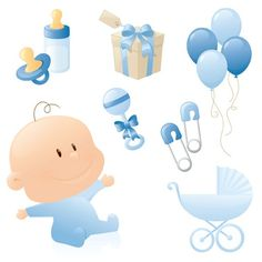 Cute baby theme vector material