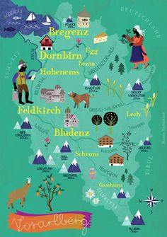 Map of Vorarlberg, the westernmost region of Austria. Austria Map, Visit Austria, Austria Travel, Travel Maps, Travel And Tourism, Travel Usa, Pictorial Maps, Destinations, City Maps