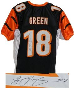 A.J. Green Autographed/Hand Signed Black & Orange Custom Jersey by Hall of Fame Memorabilia. $141.95. A.J. Green signed black and orange custom football jersey. Item comes with a Schwartz Sports Memorabilia tamper-proof numbered hologram and Certificate of Authenticity which can be verified online.