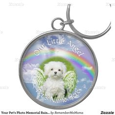 Your Pet's Photo Memorial Rainbow Angel Silver-Colored Round Keychain  #PetLoss #PetMemorial #PetSympathy #RememberMeMama