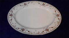 "1978 Noritake Ivory China Adagio Victorian Floral 13"" Oval Serving Platter JAPA"
