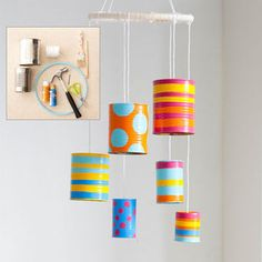 """You can also make this <a href=""""http://www.allyou.com/budget-home/crafts/tin-can-wind-chime"""" target=""""_blank"""">colorful version</a> for your baby's crib."""