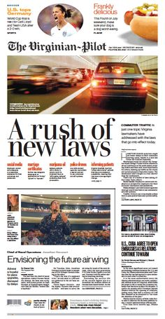 The Virginian-Pilot's front page for Wednesday, July 1, 2015.