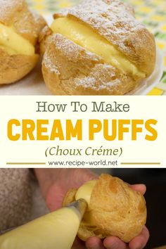 Cream-filled recipe for snacks, try this cream puffs recipe for snacks. This yummy pastry recipe can also be served for breakfast. How To Make Cream, Afternoon Snacks, Hamburger, Bread, Breakfast, Recipes, Food, Morning Coffee, Brot