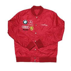 "Image of Club Foreign ""German"" Satin Varsity Jacket (Red)"