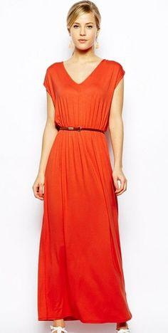 Cap Sleeve Maxi Dress - Orange