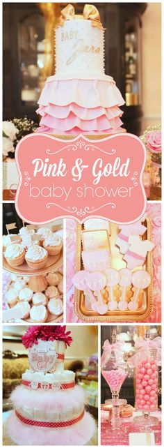 You have to see this pink and gold baby shower, so gorgeous! See more party ideas at CatchMyParty.com!