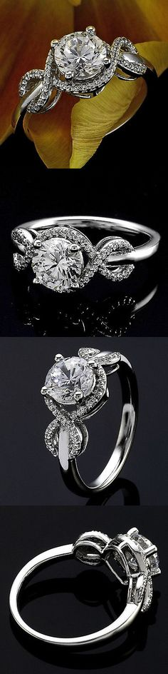 Diamond 164306: 1 Round Cut Diamond Solitaire Engagement Ring Vs2/D 14K White Gold Enhanced -> BUY IT NOW ONLY: $1275 on eBay!