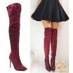22445R Σουέτ Ψηλές Μπότες με κορδόνια Μπορντό: 69,90€