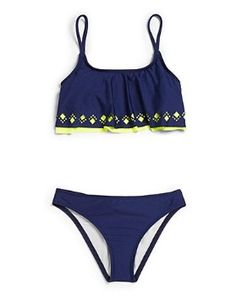 Love this cute navy and green swimsuit for this summer.