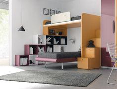 litera en L con cubos de organización y escalera con contenedores www.moblestatat barcelona