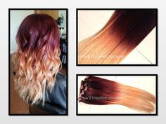 Ombre Hair Extensions Georgian Sunset by NinasCreativeCouture, $245.00