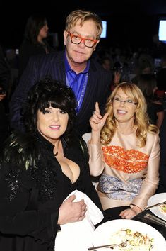 Elton John, Nancy Wilson and Ann Wilson at the Elton John AIDS Foundation Oscar Viewing Party