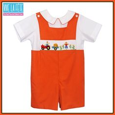 NEW ARRIVAL! Harvest Smocked Boys Shortalls!