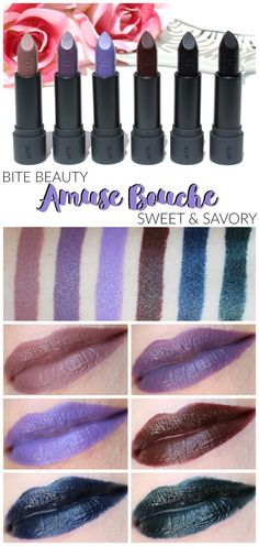 Bite Amuse Bouche Sweet & Savory Review Neutral Makeup, Purple Makeup, Green Makeup, Blue Lipstick, Blue Eyeshadow, Bite Beauty Amuse Bouche, Lipstick Tutorial, Eyes Lips Face, Highlighter Makeup