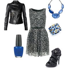 Blue & Black, created by kassyjosephine on Polyvore. I used the same shoes and jacket, cause really who's going to buy new for every outfit
