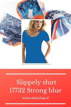 Dit blauwe Slippely viscose shirt met korte mouwen is gemaakt van 93% viscose en 7% elastan.  Het viscose Slippely shirt Strong Blue hoef je na het wassen enkel op te hangen en kan zonder te strijken weer heerlijk gedragen worden. Dit Slippely shirt is ideaal te dragen als basis shirt onder een vest of jasje.  #slippely #slippelyshirt #slippelyshirtonline #onlineslippelyshirt #damesshirt #mbstyling #shawl #shawls #sjaal #sjaals #onlineshawls Shawl, Strong, Blue, Outfits, Suits, Kleding, Veils, Outfit, Outfit Posts