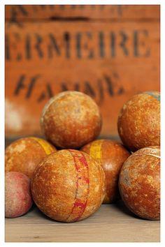 Oude petanque ballen - Brocante jeu de boules www.maisonpatine.be