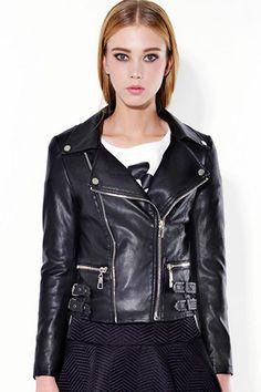 ROMWE | Zippered Belted Black Fake Leather Jacket, The Latest Street Fashion