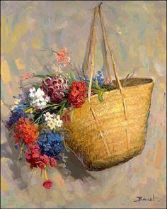 Flowers Drawing R. Art Floral, Basket Drawing, Plant Drawing, Oil Painting Flowers, Flower Basket, Acrylic Art, Mosaic Art, Art Oil, Art Paintings