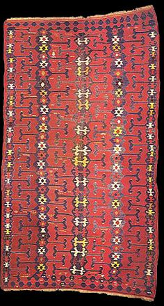 Yüncü kilim, 19th century. published in Kilims: Flat Woven Tapestry Rugs by Yanni Petsopoulos (1979), as plate 92