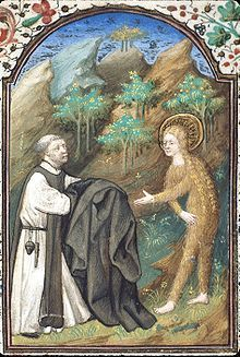 Icon of Mary of Egypt, covered in golden hair, being handed a cloak by Zosimas, French, 15th century (British Library)
