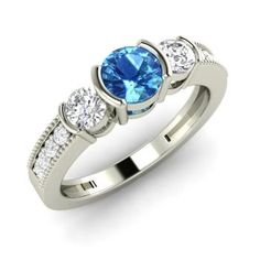 Round Blue Topaz Ring in 14k White Gold with SI Diamond
