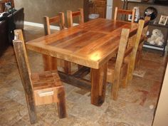 Super Cool And Heavy Duty One Of A Kind Chunky Table With 3 Thick Top Barn Wood Mixed Hardwood From Over 110 Years Old The Legs Are Hand Hewn