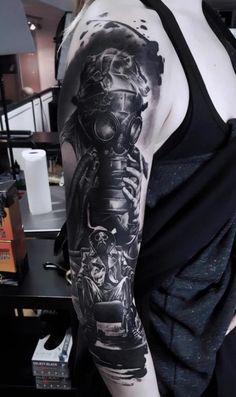 Tattoo Arm, Gas Mask, Portrait Of Man  - http://tattootodesign.com/tattoo-arm-gas-mask-portrait-of-man/  |  #Tattoo, #Tattooed, #Tattoos