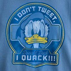Disney Shirt for Adults - Donald Duck - I Don't Tweet, I Quack