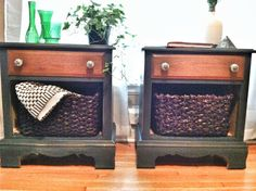 DIY end tables for living room? Remove bottom, paint and add baskets nursery table by glider :) Add lamp and baskets! Diy End Tables, Coffee And End Tables, Diy Table, Furniture Makeover, Home Furniture, Furniture Projects, Diy Projects, Repurposed Furniture, Painted Furniture