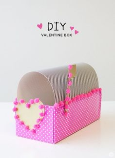 Diy Valentine Box - - Hallmark Designer Allie S. shares a simple DIY Valentine Box: make one with your kids using with a shoebox, gift wrap and a few basic craft supplies. Funny Valentine, Pokemon Valentines Box, Roses Valentine, Preschool Valentine Crafts, Valentine Boxes For School, Kinder Valentines, Diy Valentines Cards, Valentine Decorations, Valentine Ideas