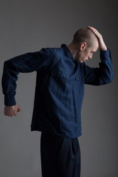 Vintage Yves Saint Laurent Men's Linen Shirt, Phillip Lim Men's Shorts. Designer Clothing Dark Minimal Street Style Fashion