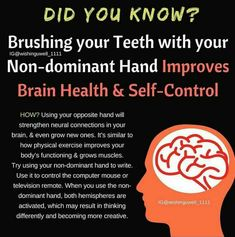 Did you know that brushing your teeth with your non-dominant hand improves brain health and self-control Health Facts, Health Tips, Health And Wellness, Health Fitness, Healthy Mind, How To Stay Healthy, Eat Healthy, Did You Know, Good To Know