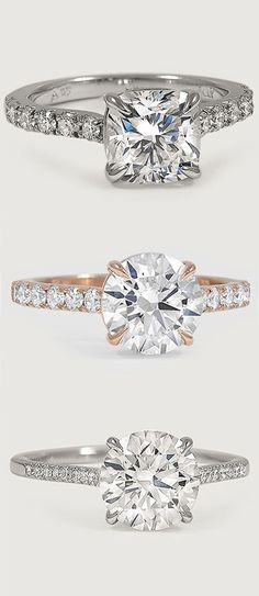 Love the delicate pavé diamonds that accent the center diamond in these dazzling engagement rings.