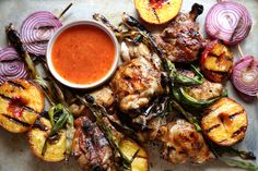 Sweet Chili Peach Glazed BBQ Chicken with Grilled Peaches, Scallions and  Onions