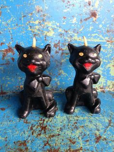 two Gurley black cat candles