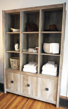 Storage for the guest room - towels and accessories can be found quickly and easily! Sauder Woodworking, Office Furniture, Guest Room, Towels, My Design, Bookcase, Shelves, Living Room, Bedroom