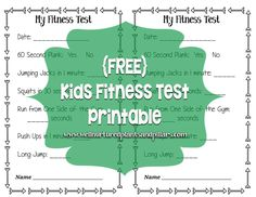 {FREE} Printable Fitness test for kids. Great for before and after fitness testi.